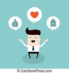 circa, concetto, successo, affari, futuro luminoso, uomo affari, sogno, felice