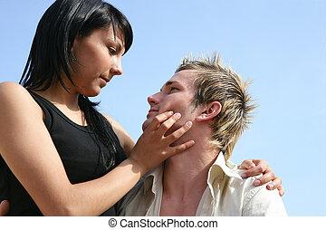 circa, donna, bacio, uomo