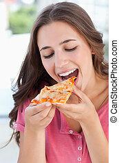 circa, donna, mangiare, pizza