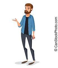 circa, giovane, idea., hipster, kazhual, discorsi, maschio, vestiti
