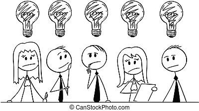 circa, gruppo, persone affari, pensare, problema, cartone animato