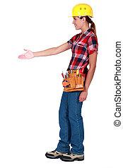 circa, lavoratore, costruzione, femmina, scuotere, hands.