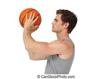 circa, presa a terra, atletico, sparare, uomo, pallacanestro