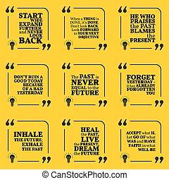circa, set, poster., semplice, ieri, motivazionale, present., tipografia, nota, citare, futuro, disegno, passato, mete