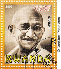 circa, :stamp, -, ruanda, mahatma, stampato, 2009, gandhi