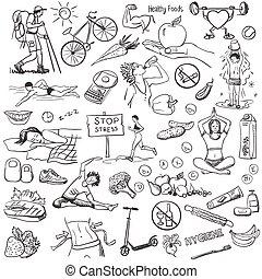 circa, stile di vita, sano, mano, fondo., disegnato, bianco