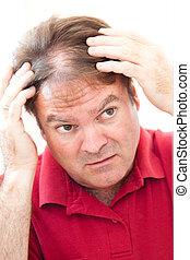 circa, uomo, balding, preoccupato