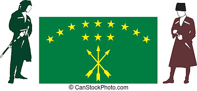 Circassians flag and silhouettes of warriors