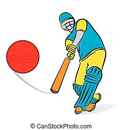 circket player hit shot design - cricket player hitting big...