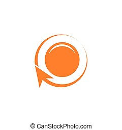 circle 3d arrow simple flat logo vector