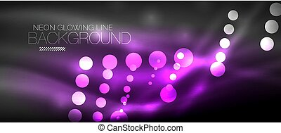 Circle abstract lights, neon glowing background