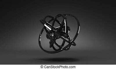 Circle Abstract On Black Background. 3D render Animation.