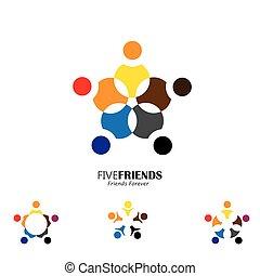 circle., amigos, feliz, junto, ícone, vetorial, conceito