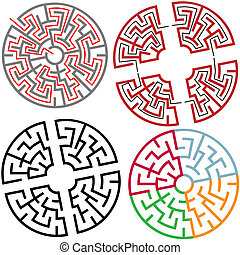 Variations of Circle and Arc Maze Puzzle Parts, with solution, colors, in parts.