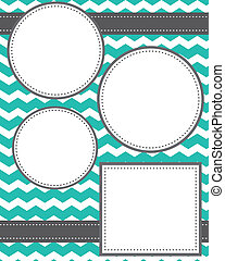 Circle and squares template with ribbons and chevron...