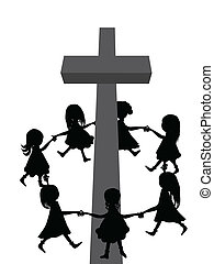 A group of children circle around a cross