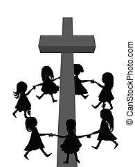 Circle around cross - A group of children circle around a...