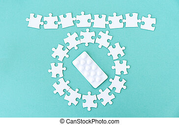 Circle around pills from puzzle pieces - Row and circle ...