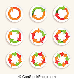 Circle arrow icon - Circle round colored icons stickers set...