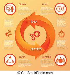 Circle arrow infographic - Orange circle round arrow...