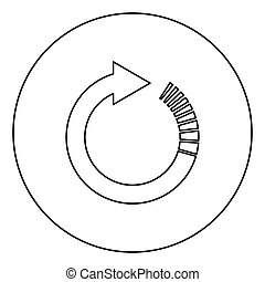 Circle arrow with tail effect Circular arrows Refresh update concept icon in circle round outline black color vector illustration flat style image