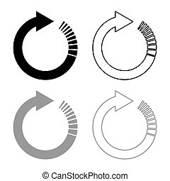 Circle arrow with tail effect Circular arrows Refresh update concept icon outline set black grey color vector illustration flat style image