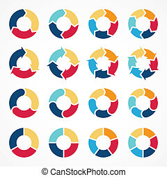 Circle arrows infographic diagram 3, 4, 5, 6 - Vector circle...