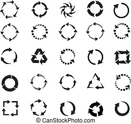 black circle arrows of pictogram refresh reload rotation loop, signs of recycling. vector set