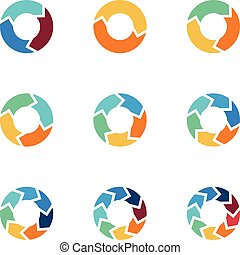 Circle arrows vector elements for process infographics with steps