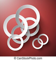 Circle Background. Abstract Vector Connected Paper Cut Circles on Red Background.