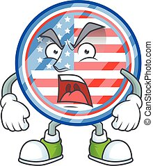 Circle badges USA cartoon character design with angry face