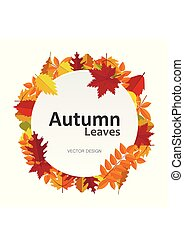 Circle banner with autumn leaves. Fall season round frame label card. Vector illustration background your design