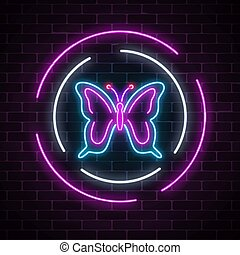 circle., batterfly, parede, primavera, sinal néon, escuro, experiência., glowing, voador, bordas, emblema, tijolo, redondo