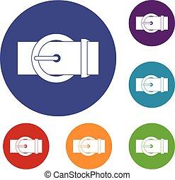 Circle belt buckle icons set
