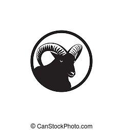 circle black mountain sheep logo