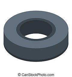Circle black olive icon, isometric style