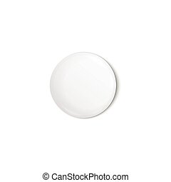 Circle blank pin button or round badge realistic vector illustration isolated.