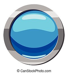 Circle blue button icon, cartoon style