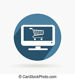 Circle blue icon. laptop with shopping cart