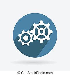 Circle blue icon. symbol settings. cogwheel