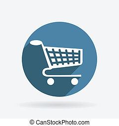 Circle blue icon with shadow. cart online store