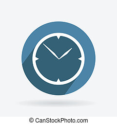 Circle blue icon with shadow. clock