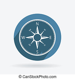 Circle blue icon with shadow. compass
