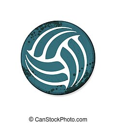 Circle blue volleyball grunge frame