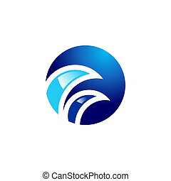 circle blue waves logo, sphere curve wave symbol icon vector design
