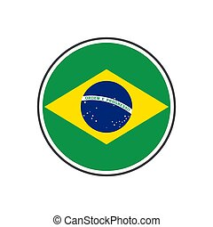 Circle brazil flag with icon vector isolated on white background