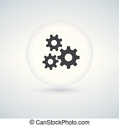 Circle bubble button with three Gears icon, vector illustration