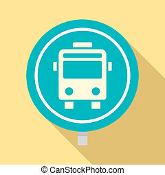 Circle bus stop sign icon, flat style