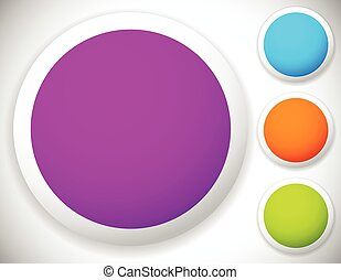 Circle button, badge blank backgrounds in four color