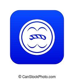 Circle button icon blue